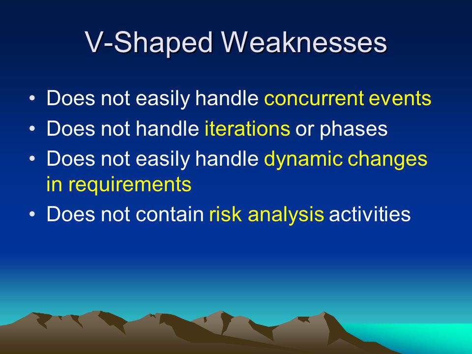 V-Shaped Weaknesses Does not easily handle concurrent events