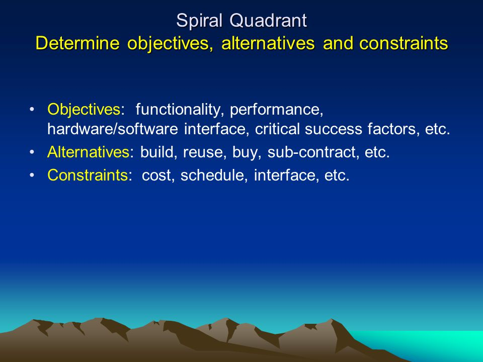 Spiral Quadrant Determine objectives, alternatives and constraints
