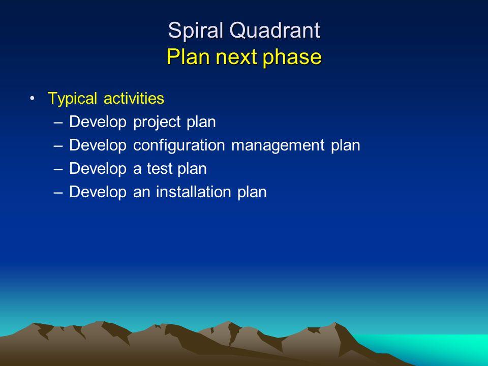 Spiral Quadrant Plan next phase