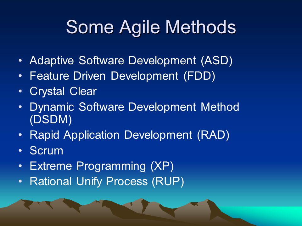 Some Agile Methods Adaptive Software Development (ASD)