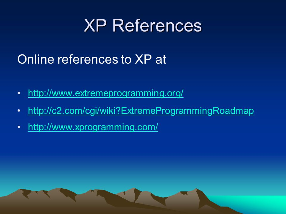 XP References Online references to XP at