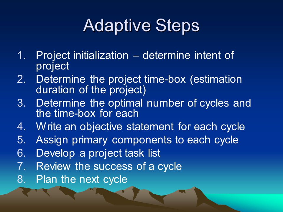 Adaptive Steps Project initialization – determine intent of project