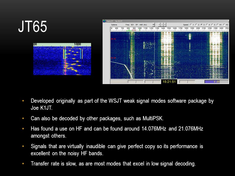 JT65 Developed originally as part of the WSJT weak signal modes software package by Joe K1JT.