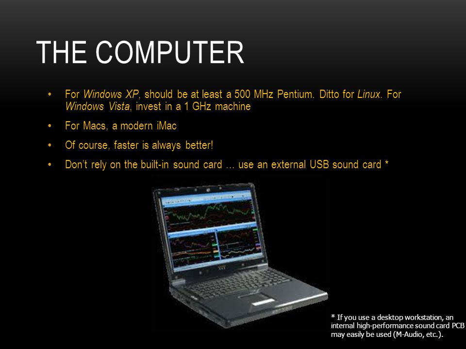 The Computer For Windows XP, should be at least a 500 MHz Pentium. Ditto for Linux. For Windows Vista, invest in a 1 GHz machine.