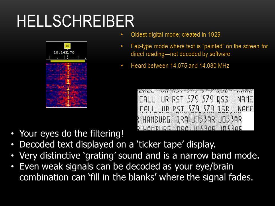 Hellschreiber Your eyes do the filtering!