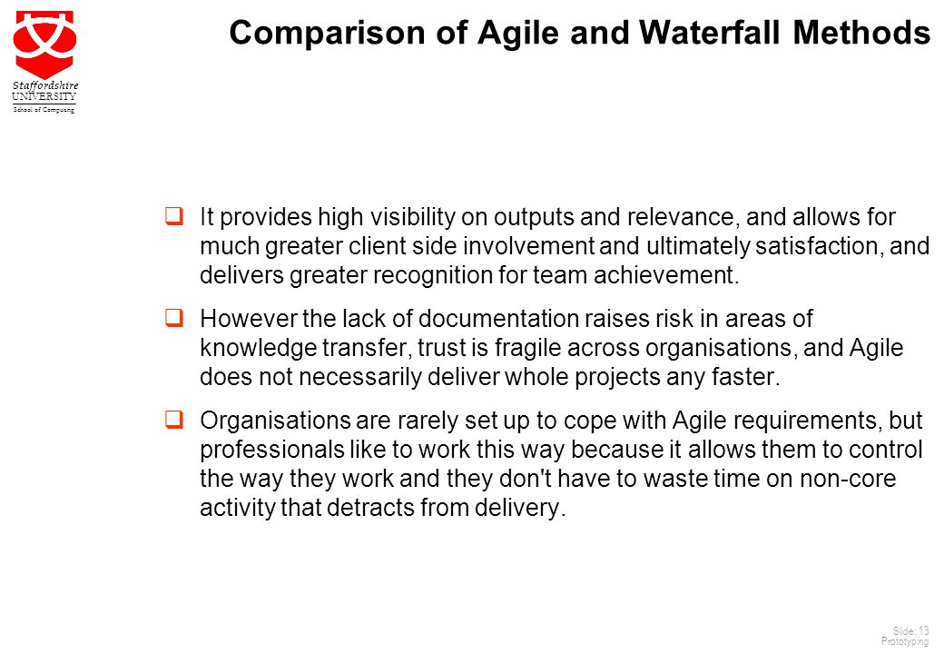 Comparison of Agile and Waterfall Methods