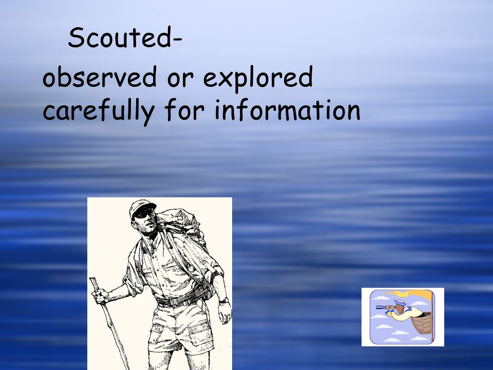 Scouted- observed or explored carefully for information
