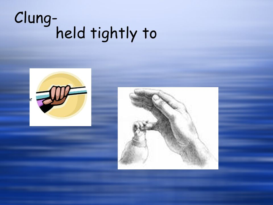 Clung- held tightly to