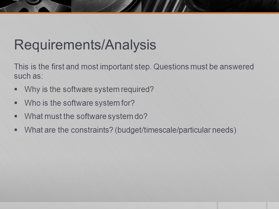 Requirements/Analysis