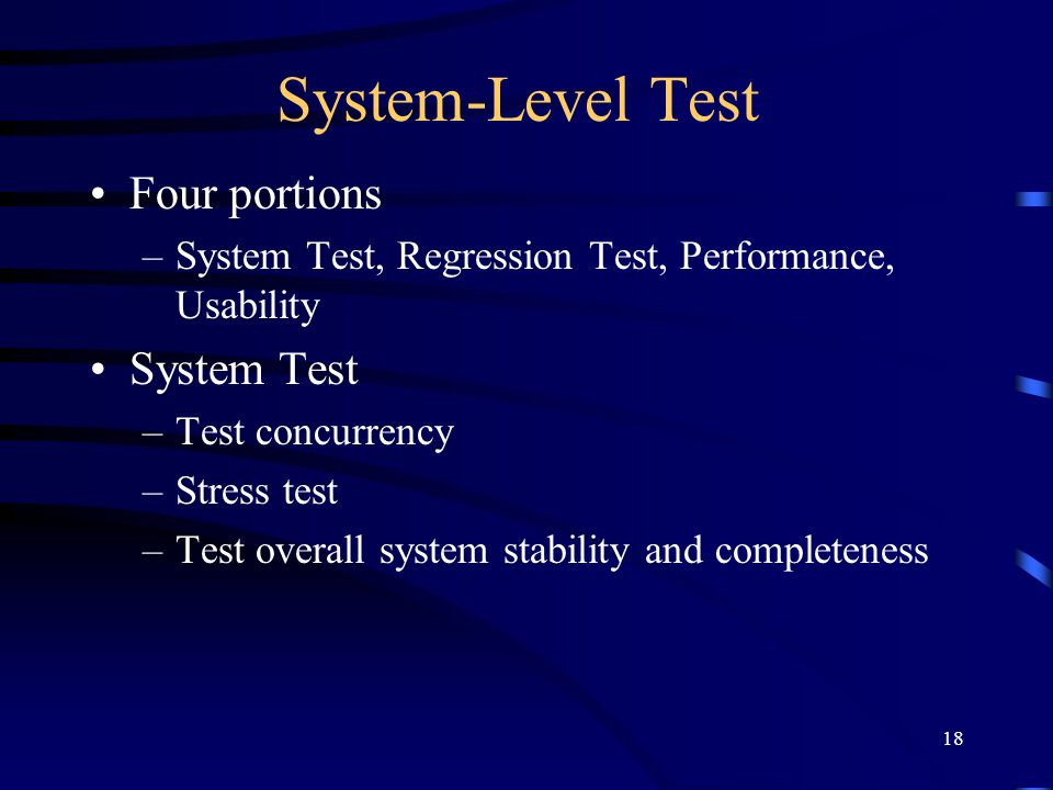 System-Level Test Four portions System Test