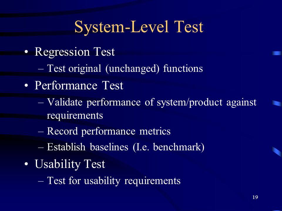 System-Level Test Regression Test Performance Test Usability Test