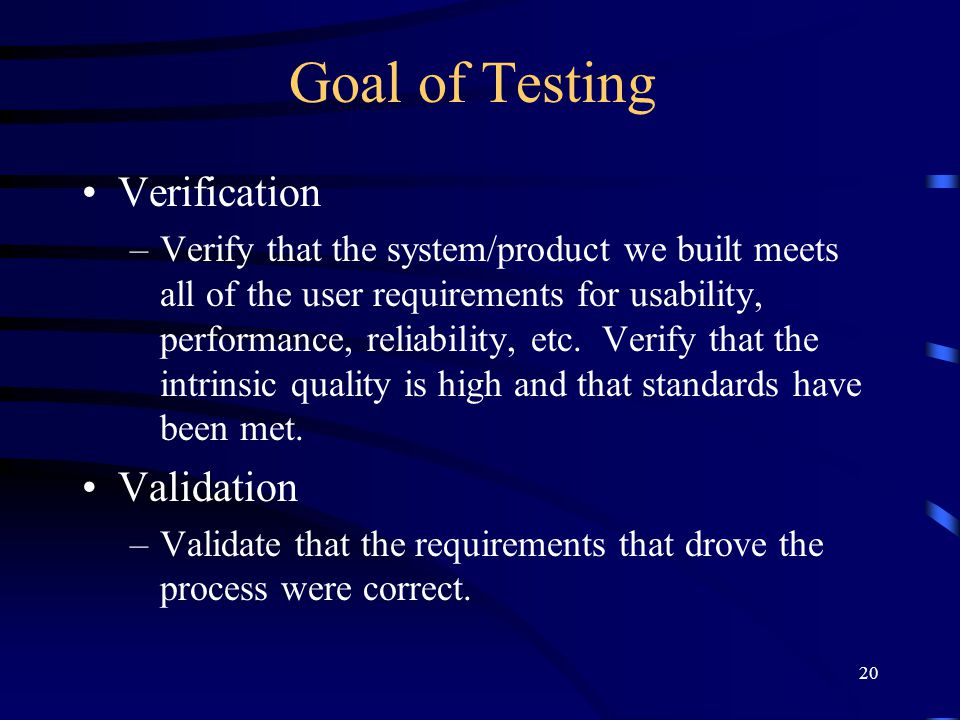 Goal of Testing Verification Validation