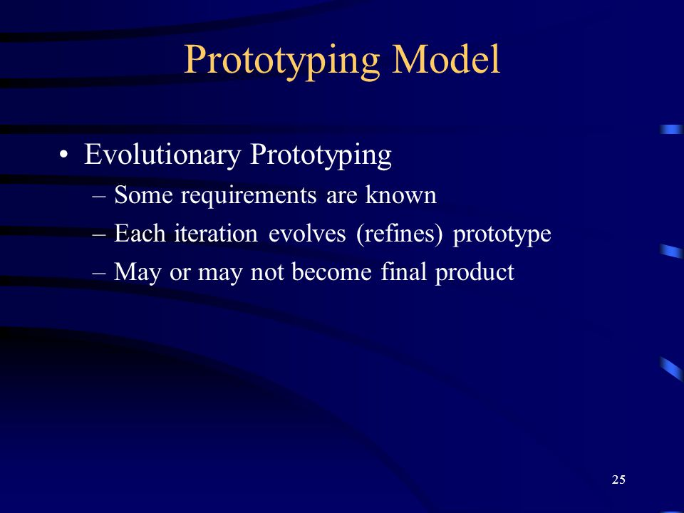 Prototyping Model Evolutionary Prototyping Some requirements are known
