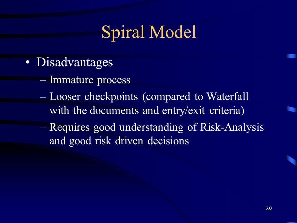 Spiral Model Disadvantages Immature process