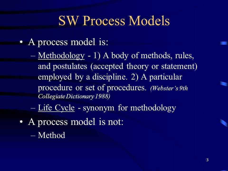 SW Process Models A process model is: A process model is not: