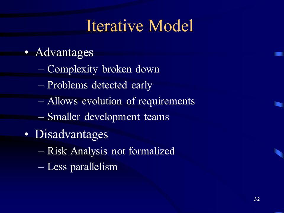 Iterative Model Advantages Disadvantages Complexity broken down