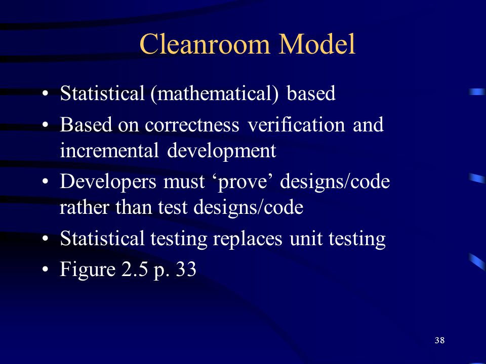 Cleanroom Model Statistical (mathematical) based