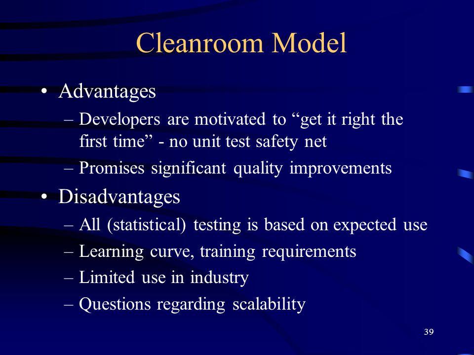 Cleanroom Model Advantages Disadvantages