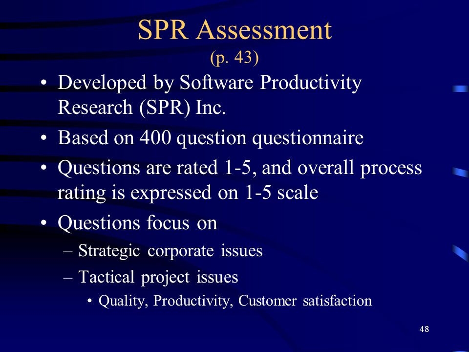 SPR Assessment (p. 43) Developed by Software Productivity Research (SPR) Inc. Based on 400 question questionnaire.