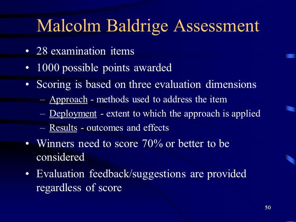 Malcolm Baldrige Assessment