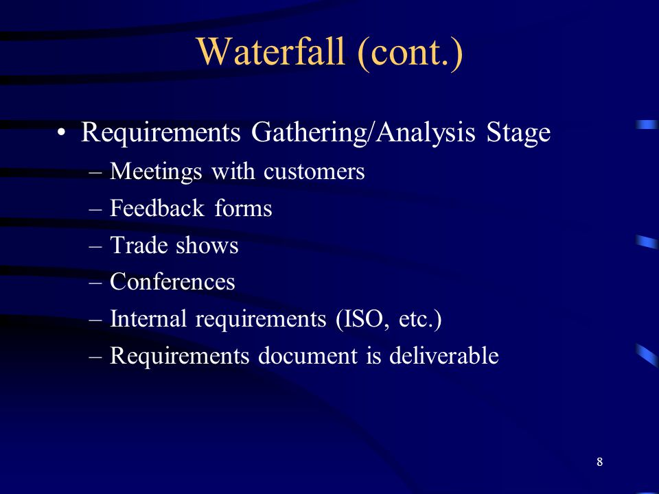 Waterfall (cont.) Requirements Gathering/Analysis Stage