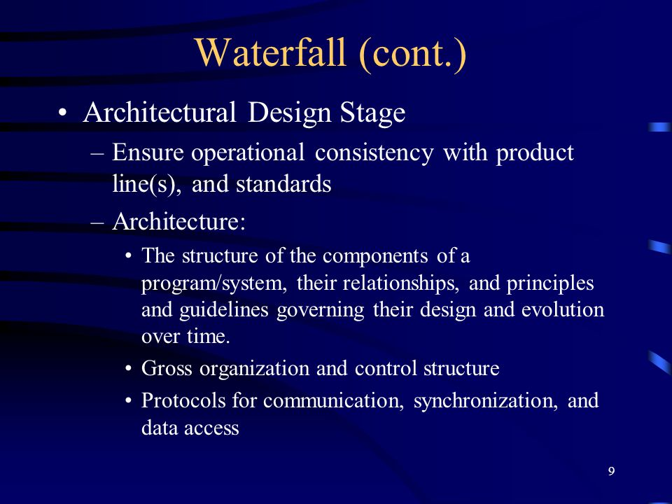 Waterfall (cont.) Architectural Design Stage