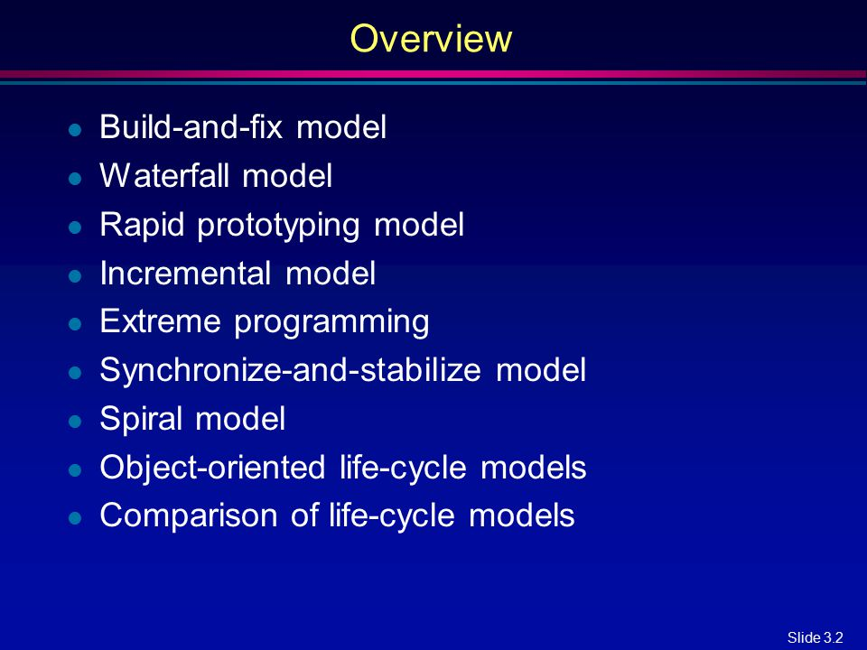 Overview Build-and-fix model Waterfall model Rapid prototyping model