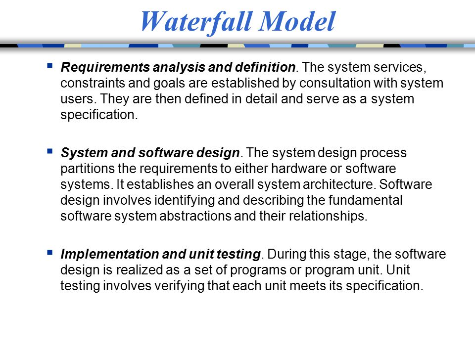The waterfall model definition best waterfall 2017 for Waterfall methodology definition