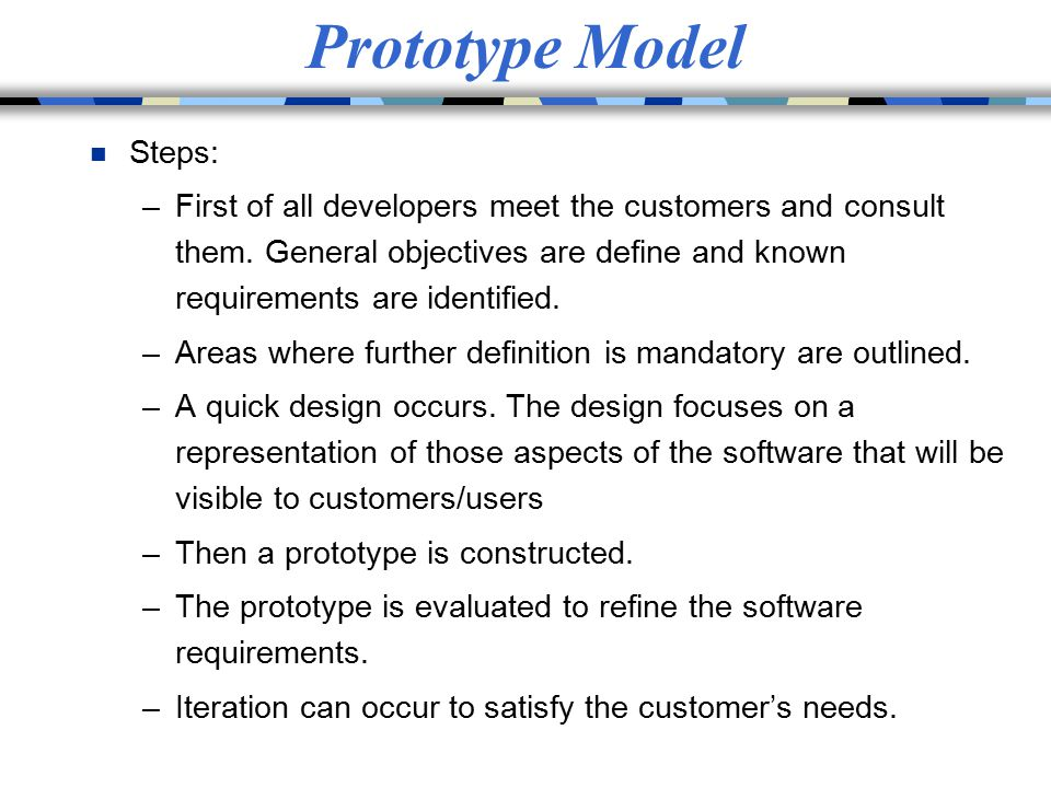 Prototype Model Steps: