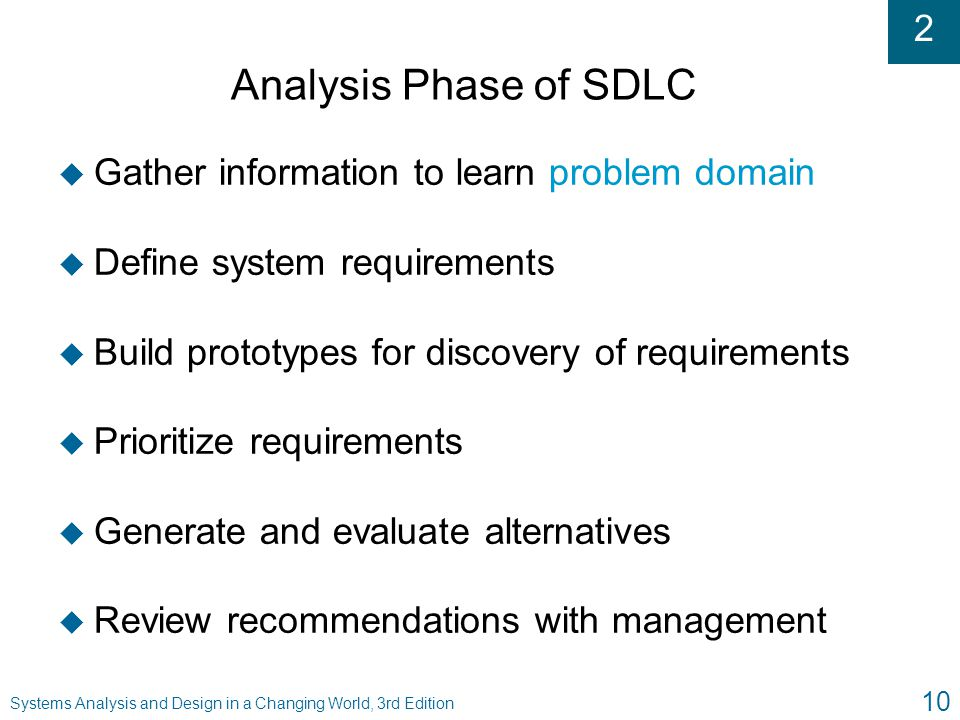 Analysis Phase of SDLC Gather information to learn problem domain