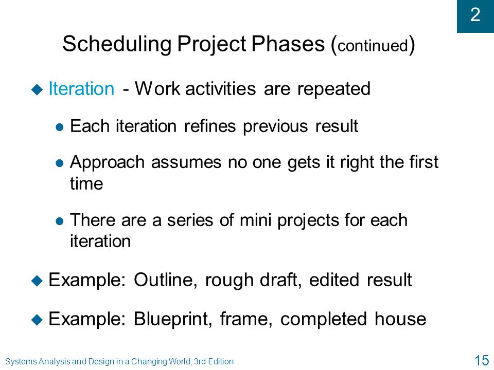 Scheduling Project Phases (continued)