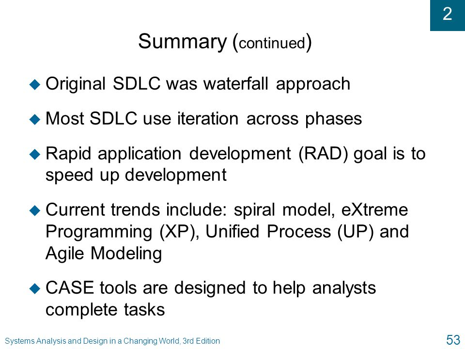 Summary (continued) Original SDLC was waterfall approach