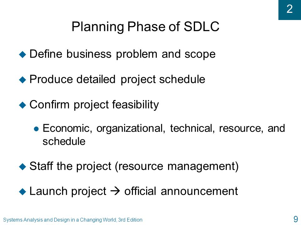 Planning Phase of SDLC Define business problem and scope
