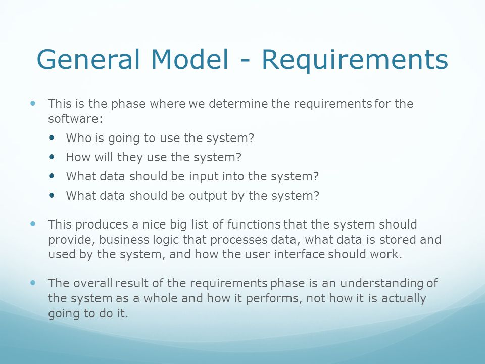 General Model - Requirements