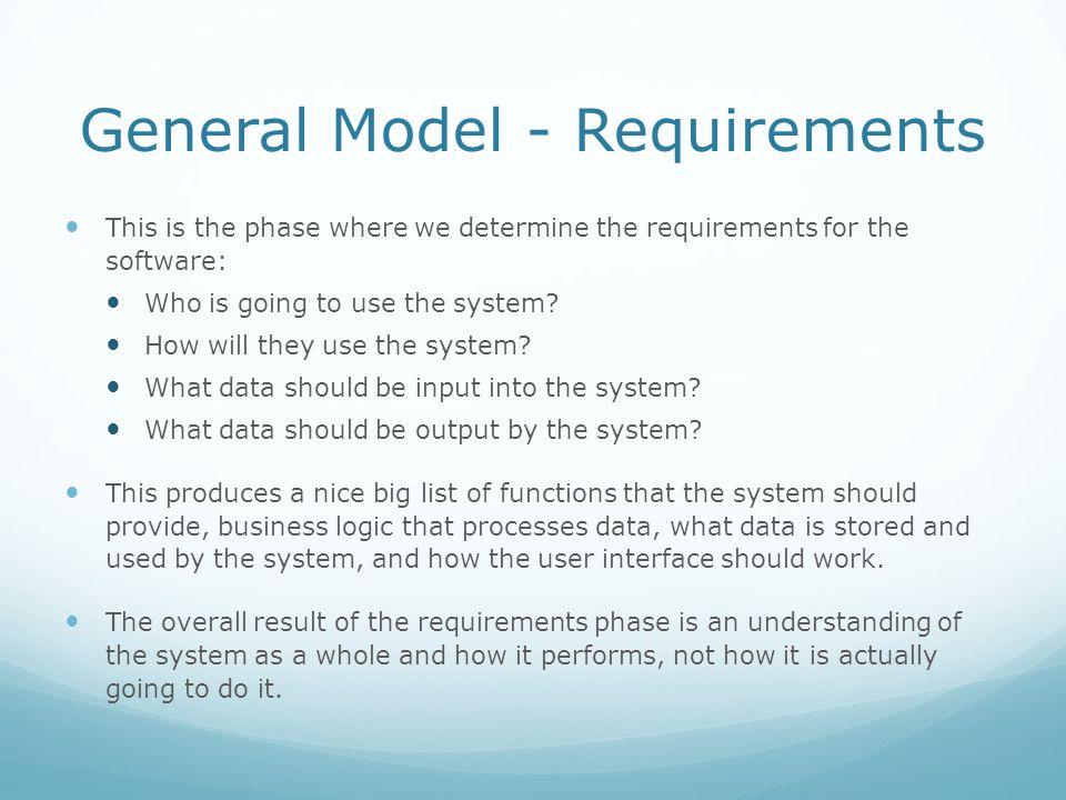 General Model - Requirements