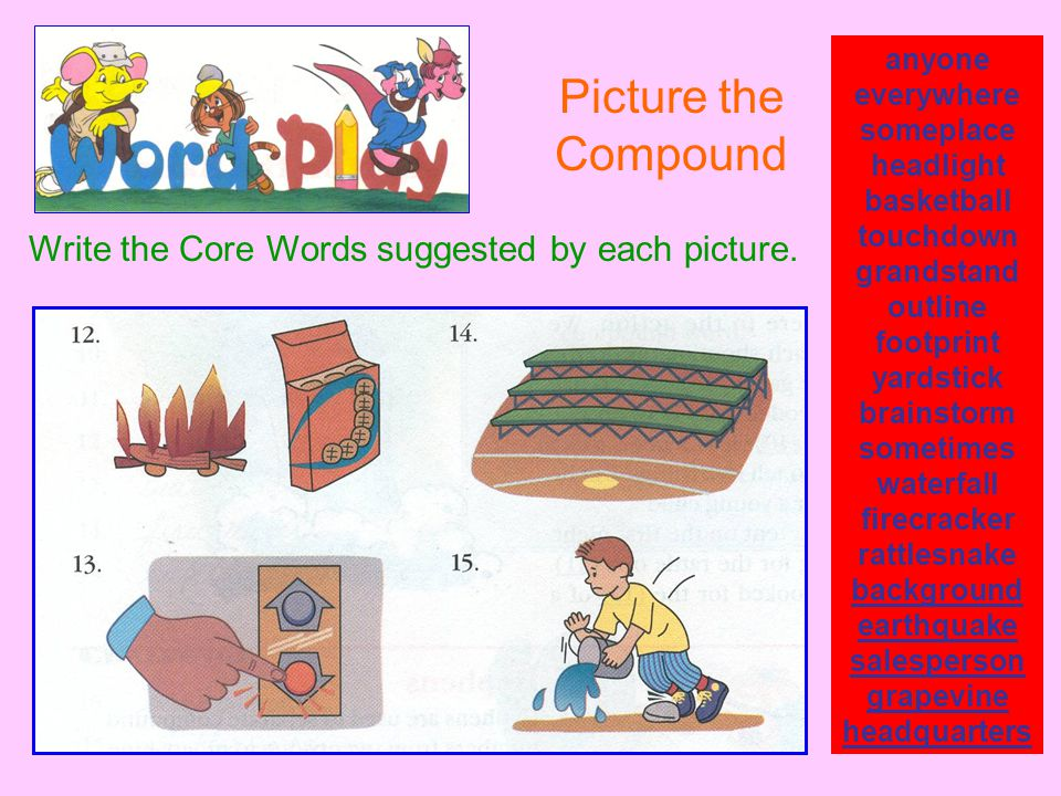 Picture the Compound Write the Core Words suggested by each picture.