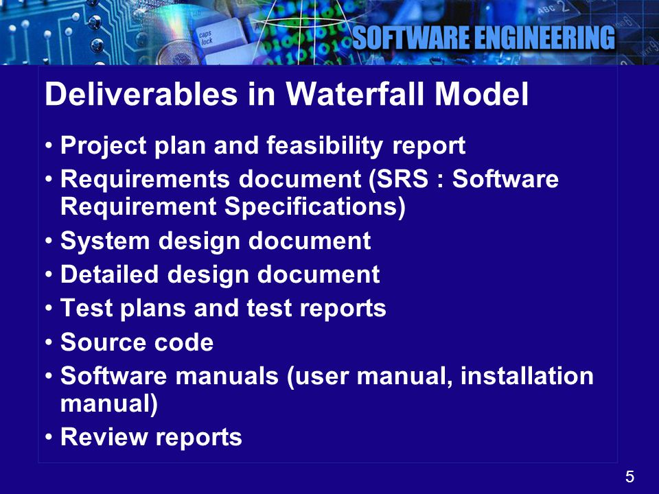 Deliverables in Waterfall Model