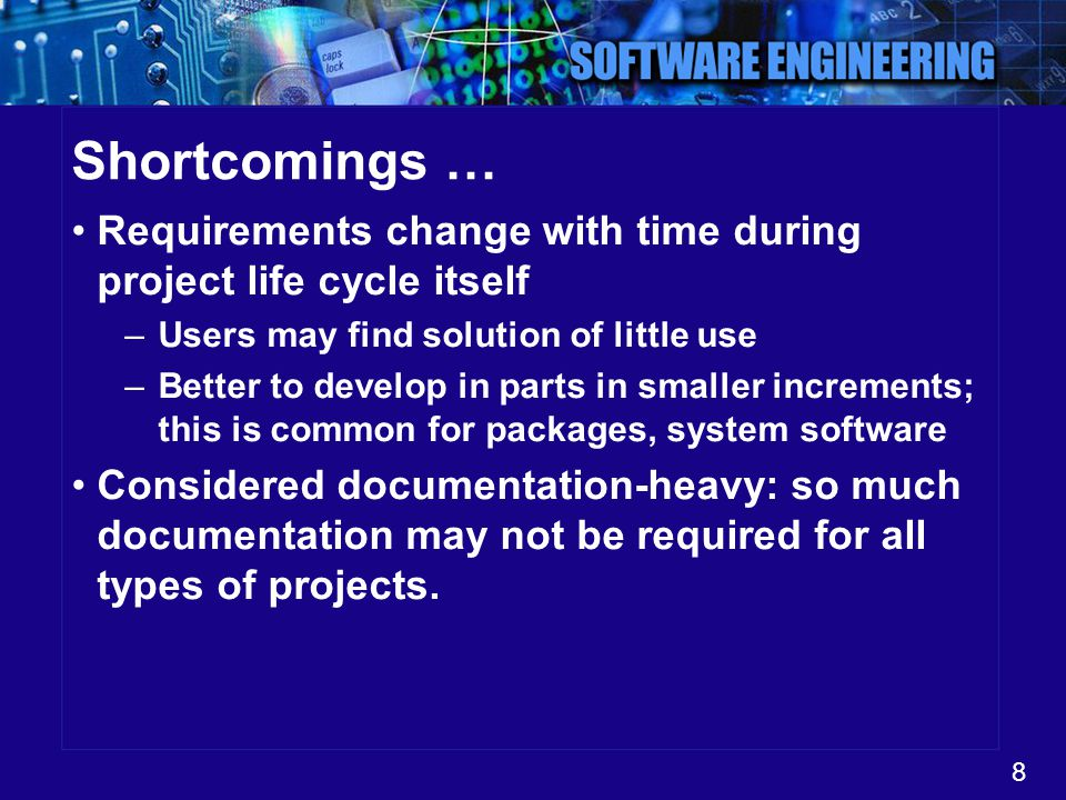Shortcomings … Requirements change with time during project life cycle itself. Users may find solution of little use.