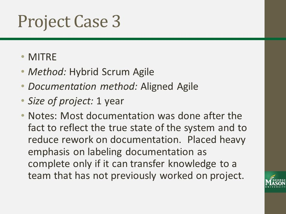Project Case 3 MITRE Method: Hybrid Scrum Agile