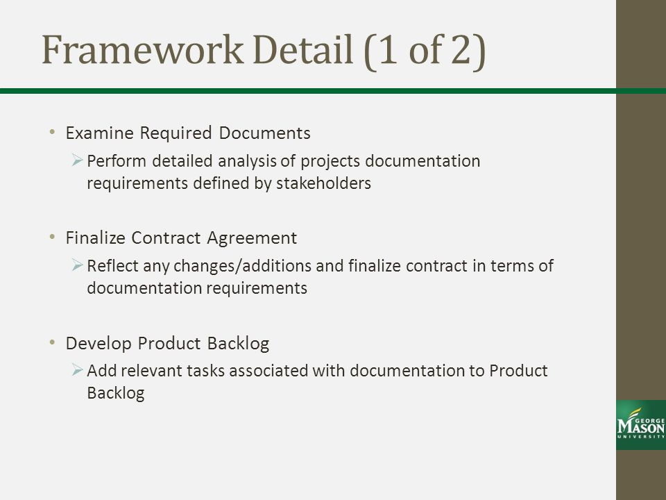 Framework Detail (1 of 2) Examine Required Documents