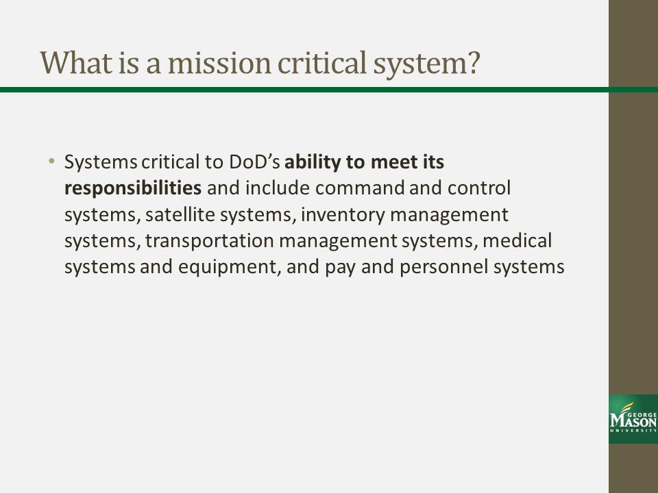 What is a mission critical system