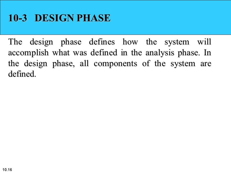 10-3 DESIGN PHASE