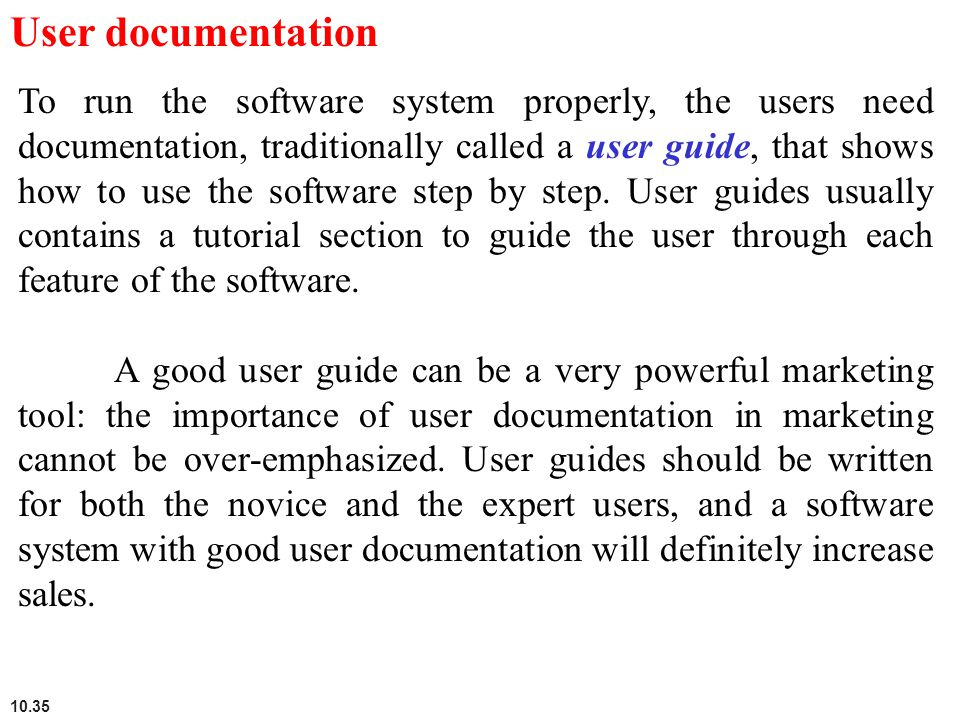 User documentation