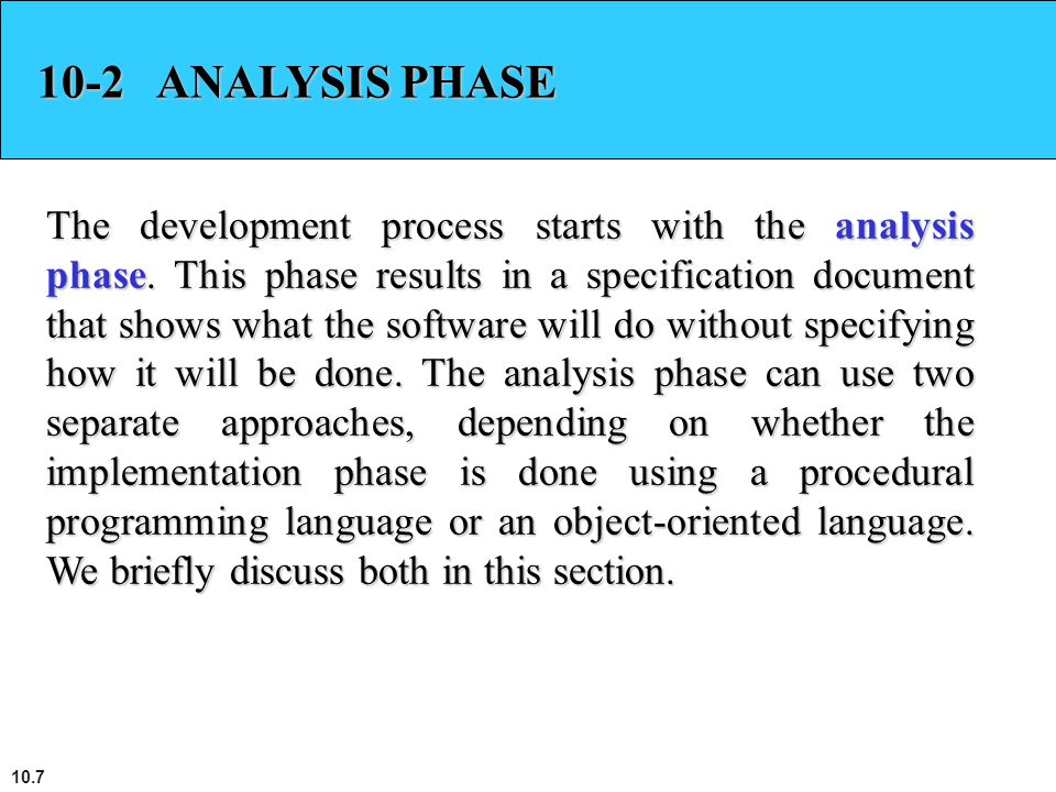 10-2 ANALYSIS PHASE
