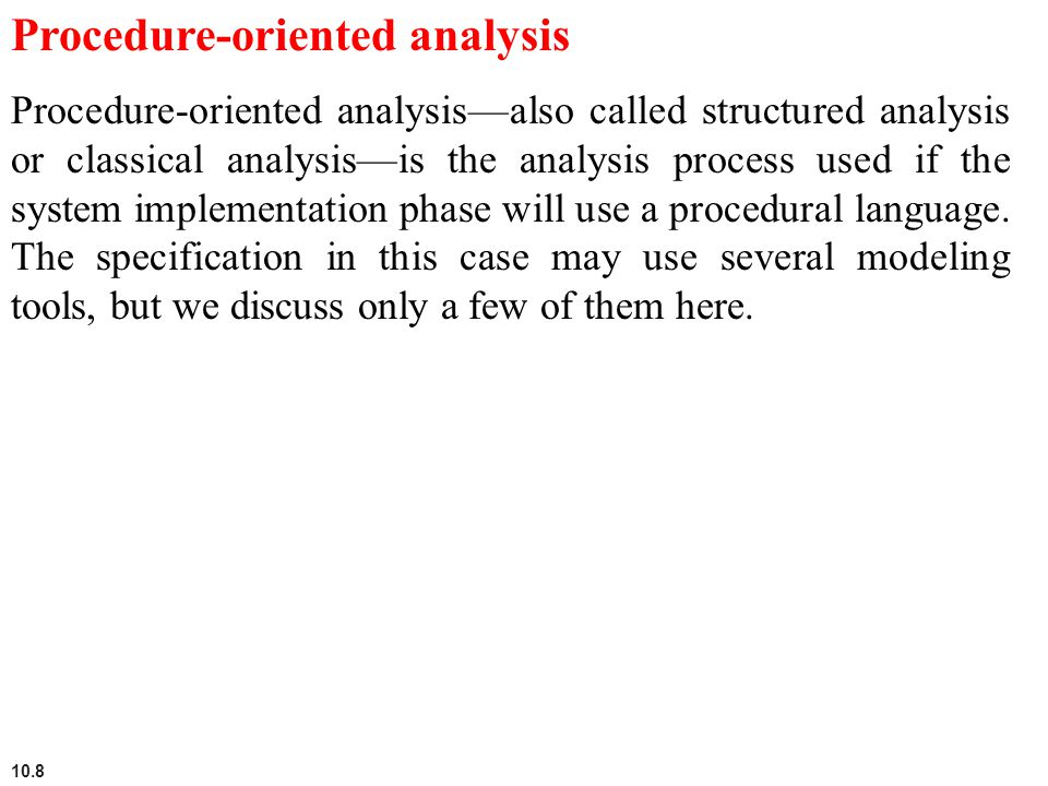 Procedure-oriented analysis