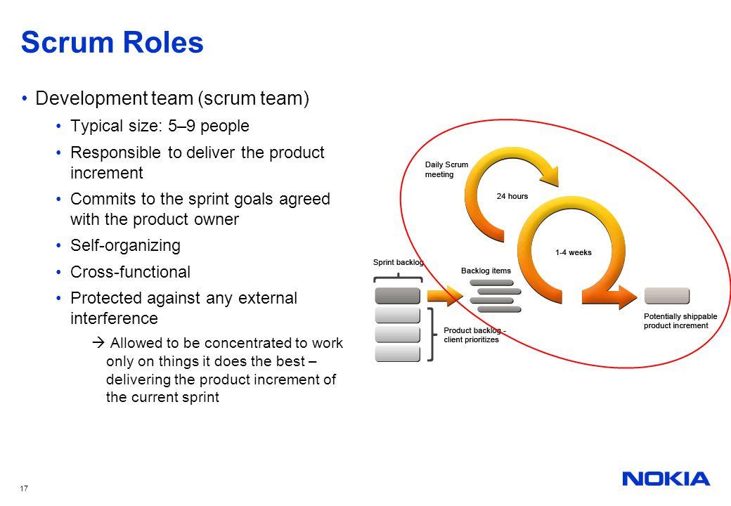Scrum Roles Development team (scrum team) Typical size: 5–9 people