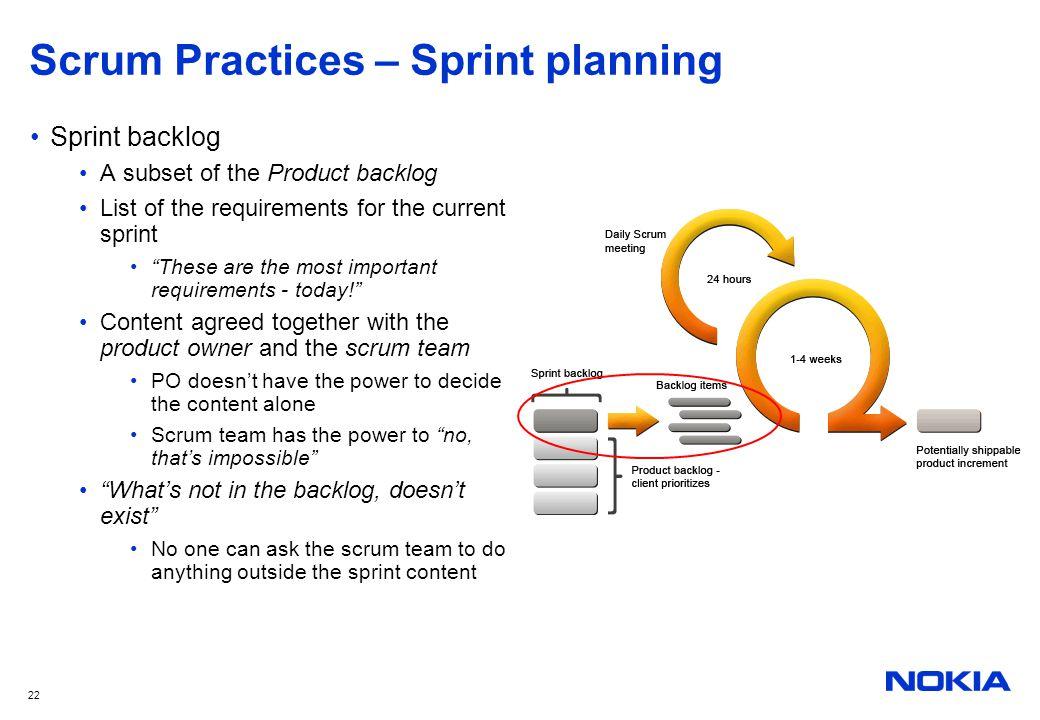 Scrum Practices – Sprint planning