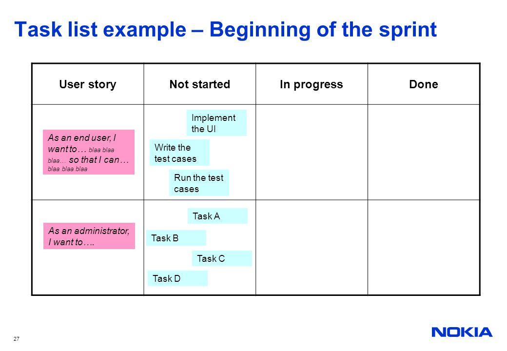 Task list example – Beginning of the sprint