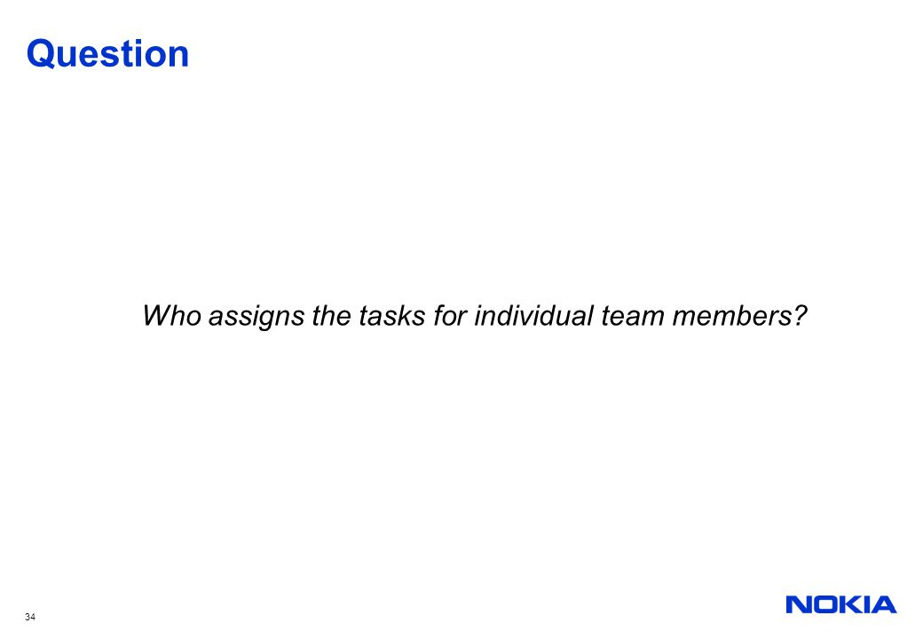 Who assigns the tasks for individual team members