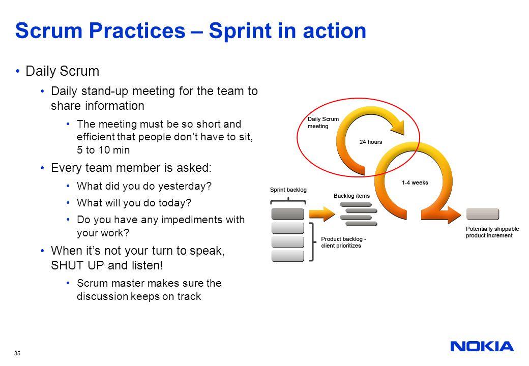 Scrum Practices – Sprint in action